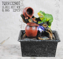 Frogs with jar tabletop water fountain