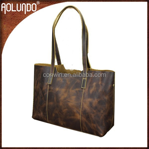 New design fashion manufacture dark brown long handle genuine leather korea ladies big handbag