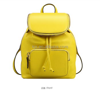Yellow PU Leather Backpack for Woman