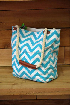 canvas tote bag, canvas beach bag with chevron fabric