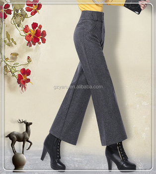 New Fashion Korea Stylish OL Loose Pant for Women Winter Office Lady Wool + Polyester 4D Cutting Long Trousers Plus Size
