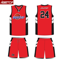 Latest Sublimated Custom Sample Reversible Basketball Uniform Jersey Logo Design Your Own Color Yellow Black Red