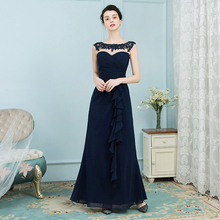 Alibaba 2018 elegant beaded lace navy blue mother of the bride evening dress for weddings