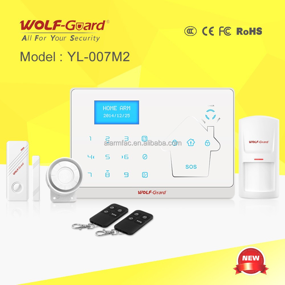 Wolf-Guard Smart wireless home GSM alarm system Voice & Touch with Touch Keypad (YL-007M2)