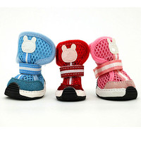 Blue Mesh PU Leather Pet Shoes Small Dog Boots
