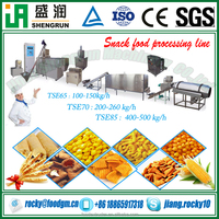 corn starch puffed snacks food making production extruding machine