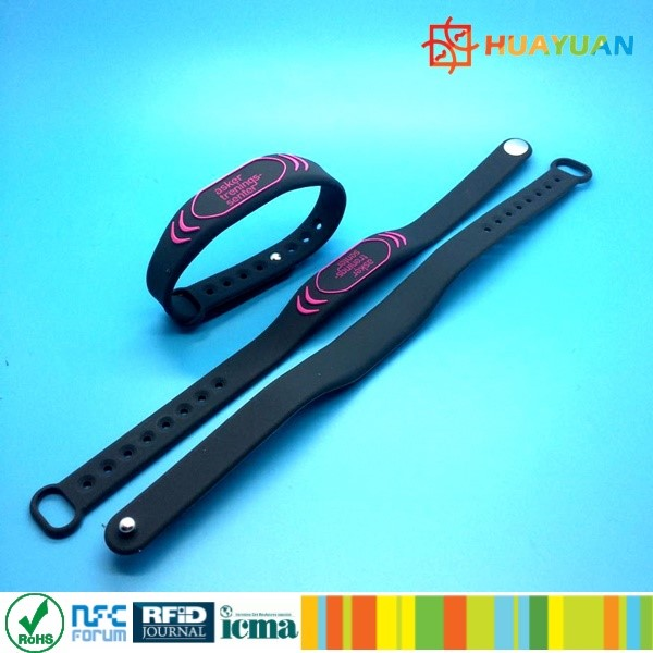Fitness gym 13.56MHz personalized silicon RFID NTAG215 NFC bracelet