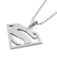 2015 Gold Plated Fashion Hollow Men's Hip Hop Stainless Steel Superman Pendant Necklace
