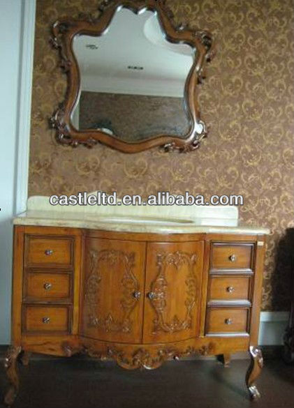 The king of rosin Antique single sink wooden mirror and vanity top with Baltic Brown/Classic solid wood bathroom cabinet