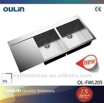 OULIN kitchen sink double bowl stainless steel sink with drainboard OL-FWL205