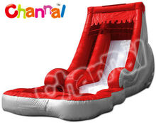 summer red inflatable pool slide wet slide for water parks