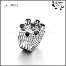 2014 latest design women jewelry stainless steel ring with the black enamel without stone