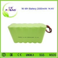 rechargeable ni-mh aa battery pack 14.4v 2000mah