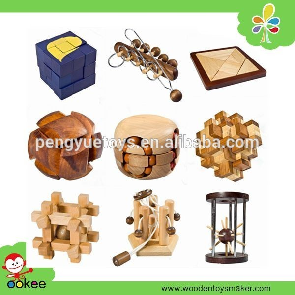 Multi choices wooden Brain Teaser 3D IQ Puzzle Toy for sale
