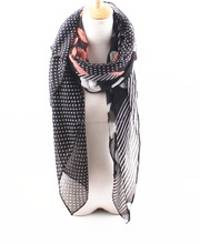 good quality spring summer paris bali yarn scarf with dots printed