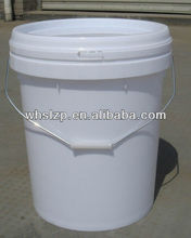 16L white plastic pail with lid, plastic bucket with handle, paint container