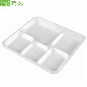 Easy Green Wholesale Small Natural White Pulp Bamboo Fiber Kids Rectangular 5 Compartment Paper Plates