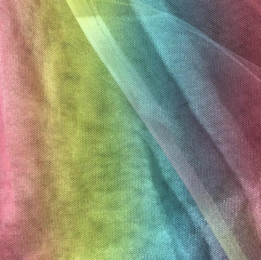 Wholesale rainbow colored decorative tulle fabric mesh fabric