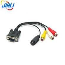 Premium Quality VGA to TV S- Video 3 RCA PC Computer AV Adapter Cable