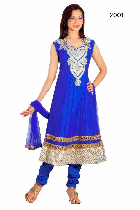 Latest Churidars with hand embroidery and stone work