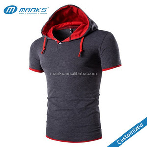 Custom Made Mens High Quality 100% Cotton Two-Ply Hood Casual T Shirt With Placket