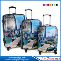 Hard case blue sky travel trolley luggage bag for sale