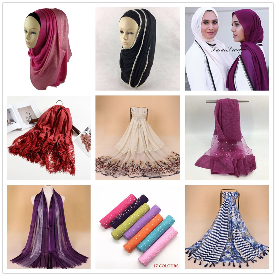 2018 hijabs scarfs new fashion cotton viscose hijab pure color scarf women shawls with all side the hair balls