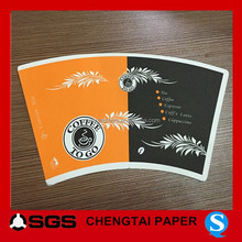 CHENGTAI printed paper cup fan shape with one side glossy pe