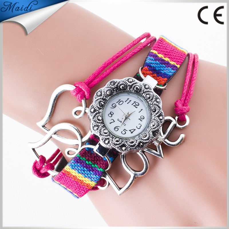 Vintage Bracelet Leather Dress 2016 Retro Love Women Watches Quartz Analog Clock Wrist Relojes Mujer Ladies WW065