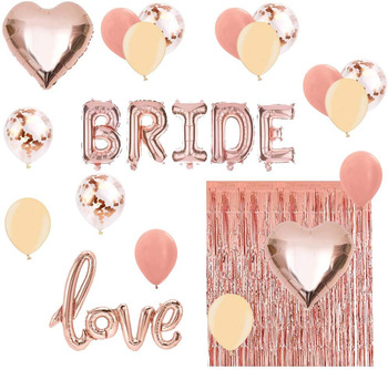 "12 Inch Rose Gold Latex Balloon and 16 Inch ""BRIDE"" Foil Banner Set With Foil Curtain For Wedding Bachelor Party"