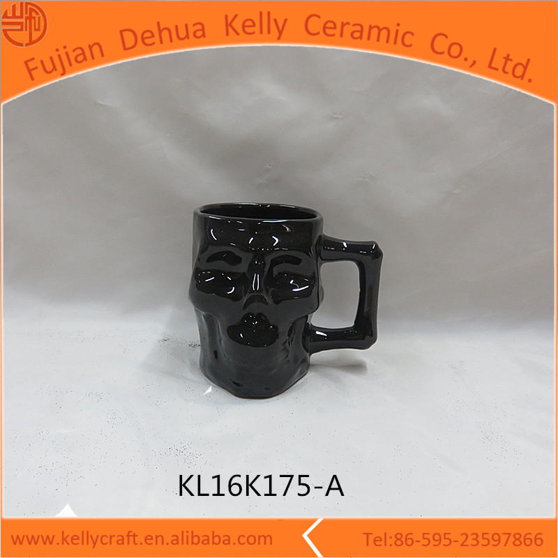 Home decor white ceramic Halloween ceramic skull mug