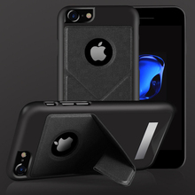 Magnetic pu skin leather back cover with stand for iPhone 7 protective back case for iPhone 7