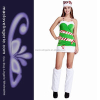 ML8066 2015 Women Winter Green Candy Cane Sexy Christmas Tree Costume