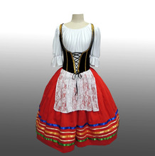 2016 New !! MBQ562 Adult beautiful velvet Giselle ballerina spain red black fluffy dance ballet tutu dress