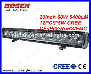 High Quality 20 Inch 60w IP 68 Off Road LED Bar Light for Trucks, UTV, ATV, SUV, Boats