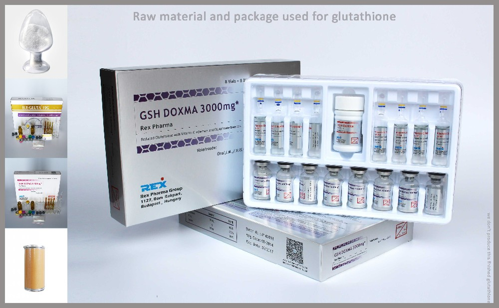 Raw Material for glutathione skin whitening injection and Packing for glutathione injection skin whitening