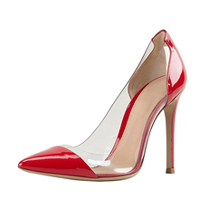 Red high heels pointed toe Leather shoes women transparent large size shoes