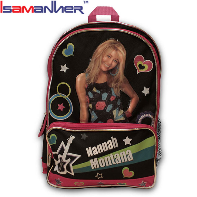 Hannah Montana kids school backpack, girl fashion school bags