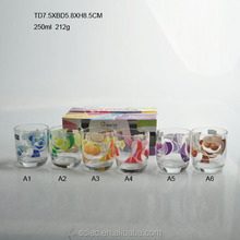 hot sale clear drinking glass promotional glass cup set with decal gift set