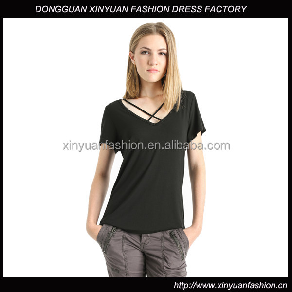 2016 Custom Ladies V Neck Short Sleeve Fashion Blouses Tops,Wholesale 95% viscose / 5% spandex T-Shirts Blouses For Ladies