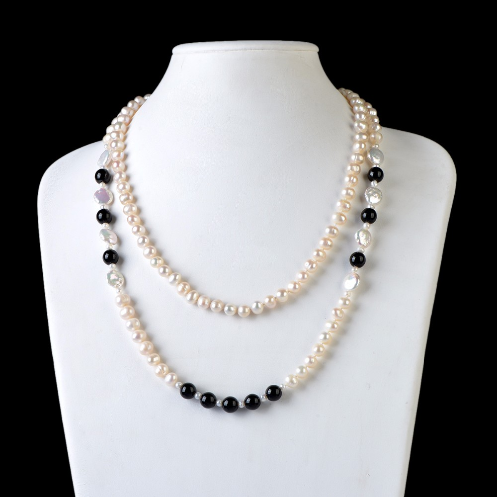 RN139 8-9mm and 4-5mm potato pearl necklace pictures black pearl necklace jewelry