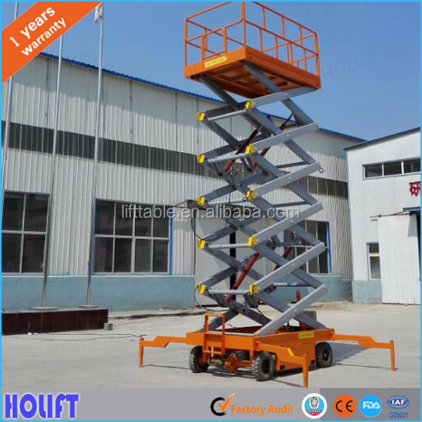 Widely used 12m mobile towable scissor lift table for home roof repair