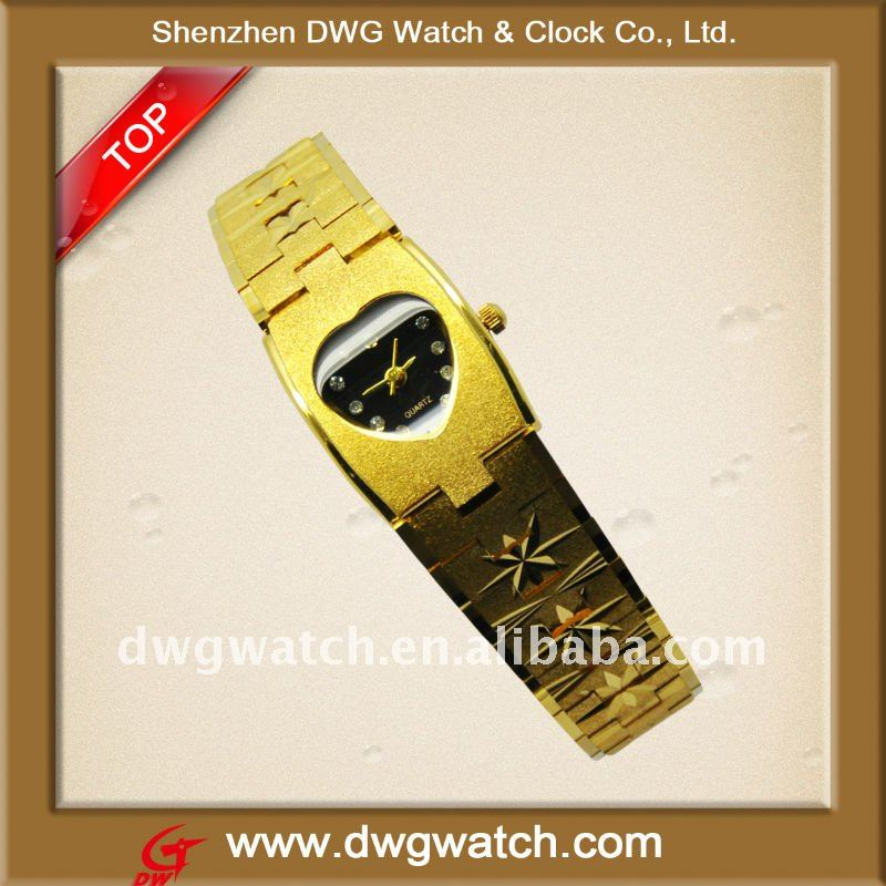 Gold Bracelet Brass Watch With Snap Clasp