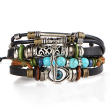 Punk Design New Fashion Wristband Synthetic Stone Vintage Jewelry Turkish Eye Multilayer Leather Bracelets For Men