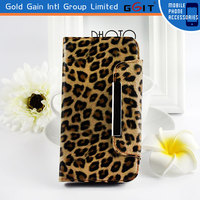 Leopard Pattern Flip Cover TPU+PC Case For Samsung S4 i9500, Wallet With Card Holder Case For Galaxy S4 i9500