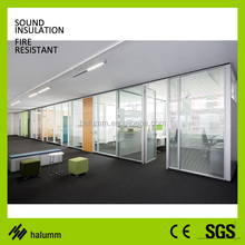 soundproof modular 12mm MDF wood tempered clear glass office partition wall acoustic decorative full height glass wall partition