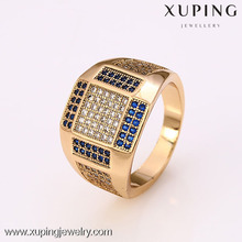 12383 - Xuping Fake 18K gold Jewelry Mens Gold Finger Rings, pave stone gold ring designs for men