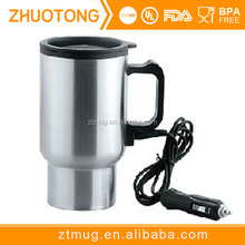 Stainless Steel Auto Heated Travel Coffee Tea Mug Cup With Car Charger