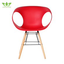 LK504-3 Living room chairs red color wooden leg modern outdoor lounge chair