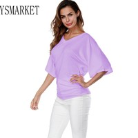10 Color S-5XL Top Tees Summer T Shirt Large Sizes For Women Clothing Casual Workwear V Neck Loose Bat Sleeve Tops Fashion E1375
